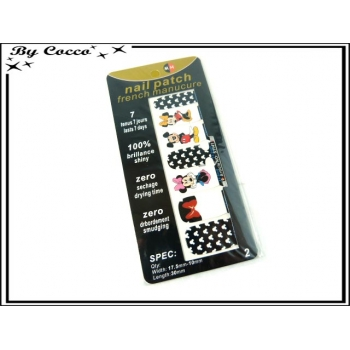 Patch ongles - Mickey et Minnie - Noir / Blanc