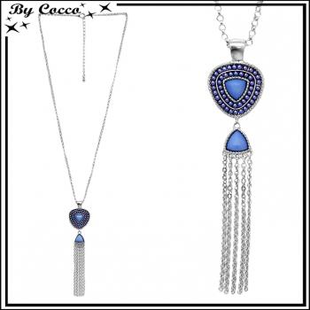 Sautoir pendentif perle bleue - chaînettes