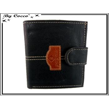 Petit Porte-monnaie carré G / Coutures apparentes - Noir