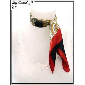 Carré satin - Fond blanc et noir - Grandes arabesques oranges - Bordure rouge