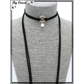 Choker - Pendentif petite perle nacrée - Double anneaux - Noir / Doré