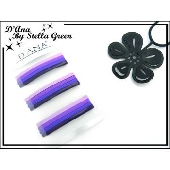 Barrettes plates  - Non échangeable - Plaque de 12 - Tons violets