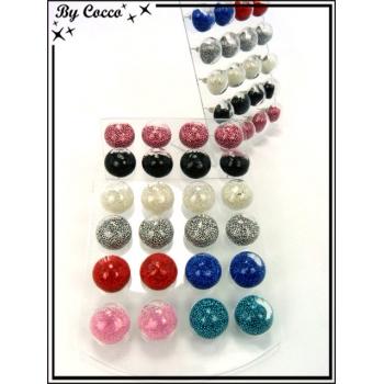 Boucles d'oreilles - Globe billes - Multicolor - Plaque de 12