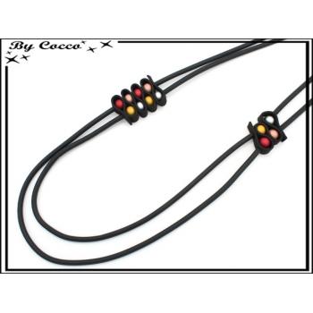 Sautoir - Aspect caoutchouc - Petites perles de couleur