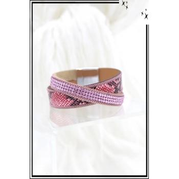 Bracelet - Stella Green - Aimantée - 2 rangs - Entrelacés - Strass et motifs serpent - Rose