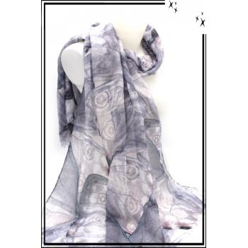 Foulard - Papillon filigrane - Gris
