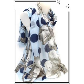 Foulard - Poids - Fleurs - Fond bleu / Gris