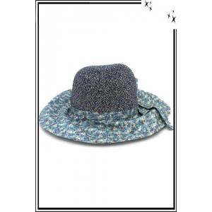 Chapeau  - Haute qualité - Noeud arrière - Petites fleurs fond bleu