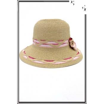 Chapeau  - Haute qualité - Noeud arrière - Dégradé rose / blanc