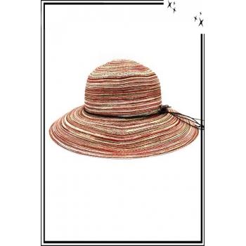 Chapeau  - Haute qualité - Liseré corde fine - Tons rouge