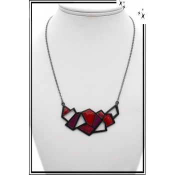 Collier - Motifs -Triangulaires - Rouge / Rose / Fushia