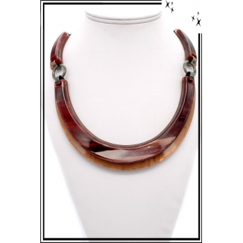 Collier – Résine – Marron / Rouge