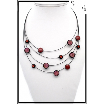 Collier - Nylon - Multi rangs - Motifs - Cercles - Strass - Rose / Cuivré