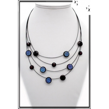Collier - Nylon - Multi rangs - Motifs - Cercles - Strass - Bleu
