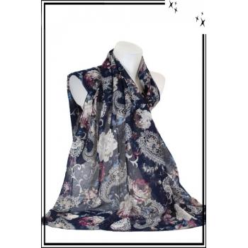 Foulard - Mandalat - Fleurs - Fond bleu