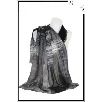 Foulard - Imprimé - Triangle - Noir - Gris - Blanc