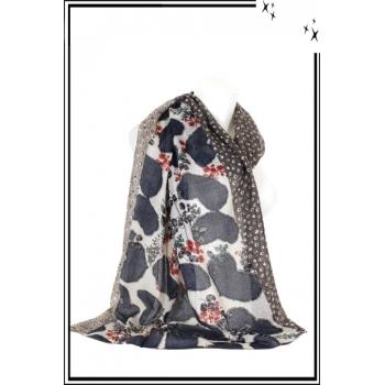 Foulard - Fleuri - Cœur - Bordure - Petits - Pois - Bi - color - Taupe
