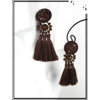Boucles d'oreilles - Résine - Perles - Pompons - Chocolat