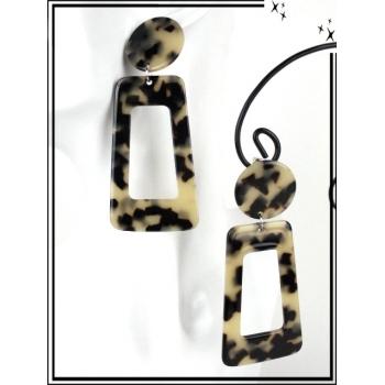 Boucles d'oreilles - Résine - Rectangle et rond moucheté - Beige