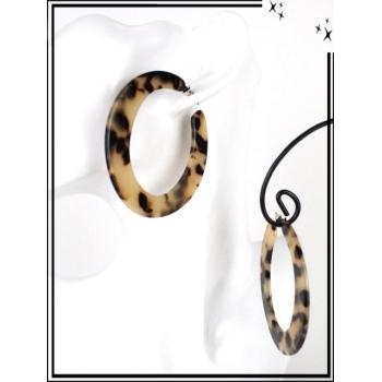 Boucles d'oreilles - Résine - Créole mouchetée - Fine - Beige