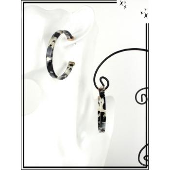 Boucles d'oreilles - Résine - Créole mouchetée - Gris