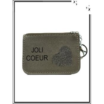 Petite pochette - Porte-clé - Coeur strass - JOLI COEUR - Taupe