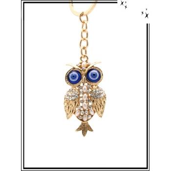 Porte-clé - Bijoux de sac - Strass - Chouette - Yeux bleus - Doré