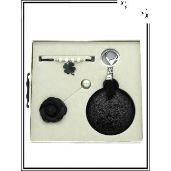 Coffret - Bracelet - Broche - Miroir de poche - Noir