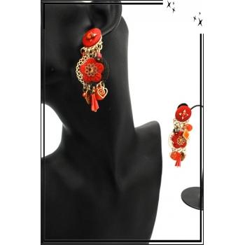 Boucles d'oreilles - Clip - Pampilles - Fleurs - Rouge orangé