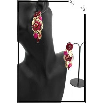 Boucles d'oreilles - Clip - Pampilles - Fleurs - Fushia