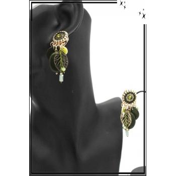 Boucles d'oreilles - Clip - Pampilles - Feuille - Filigrane - Kaki