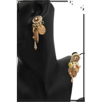 Boucles d'oreilles - Clip - Pampilles - Feuille - Filigrane - Beige