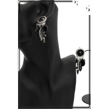 Boucles d'oreilles - Clip - Pampilles - Feuille - Filigrane - Noir