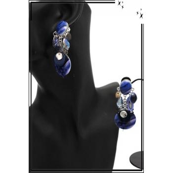 Boucles d'oreilles - Clip - Pampilles - Plume - Bleu roi