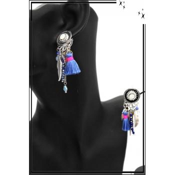 Boucles d'oreilles - Clip - Pampilles - Pompon - Bleu / Argent