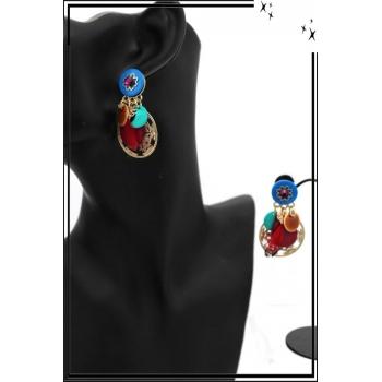 Boucles d'oreilles - Filigrane - Plume - Multicolor