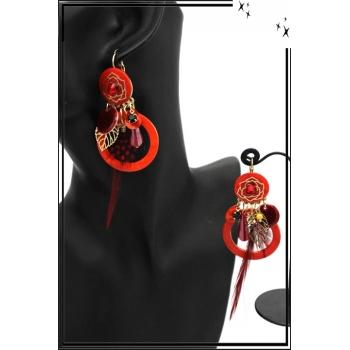 Boucles d'oreilles - Filigrane - Plume - Fleur - Rouge orangé