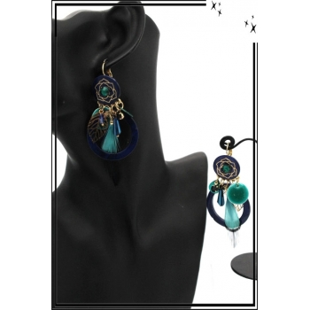 Boucles d'oreilles - Filigrane - Plume - Fleur - Bleu vert