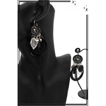 Boucles d'oreilles - Filigrane - Plume - Fleur - Noir
