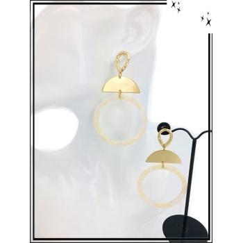 Boucles d'oreilles - Résine - Demi lune dorée - Beige