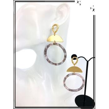 Boucles d'oreilles - Résine - Demi lune dorée - Camaieu de gris