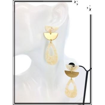 Boucles d'oreilles - Résine - Demi lune dorée - Goutte - Camaieu de beige