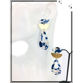 Boucles d'oreilles - Résine - Demi lune dorée - Goutte - Camaieu de bleu
