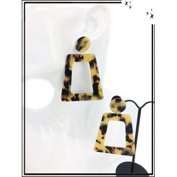 Boucles d'oreilles - Résine - Double forme - Nuancé - Beige / Marron