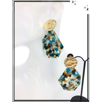 Boucles d'oreilles - Résine - Piecette dorée - Camaieu de bleu / marron