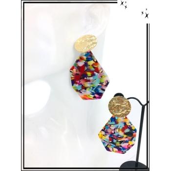 Boucles d'oreilles - Résine - Piecette dorée - Camaieu multicolor