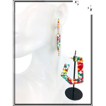 Boucles d'oreilles - Résine - Nuancé - Multicolor