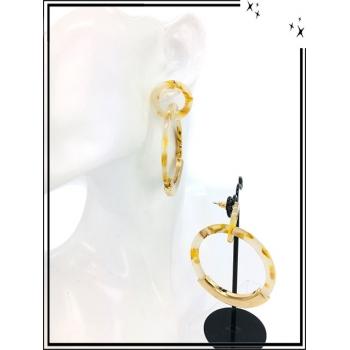 Boucles d'oreilles - Résine - Nuancé - Rond - Doré - Beige / Jaune