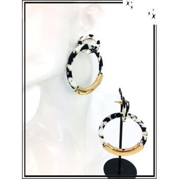 Boucles d'oreilles - Résine - Nuancé - Rond - Doré - Noir / Blanc