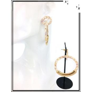 Boucles d'oreilles - Résine - Nuancé - Rond - Doré - Camaieu de beige